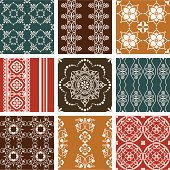 A collection of seamless colour wallpaper tiles with intricate details. (Includes .jpg)