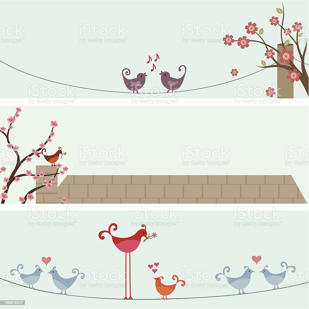 Fresh Air Spring Bird Banners vector art illustration