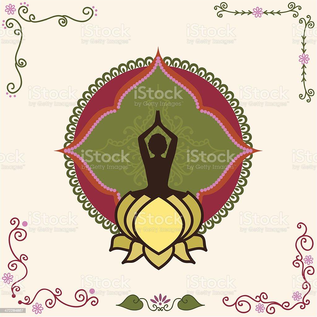 Fresh Air Yoga Mandala vector art illustration