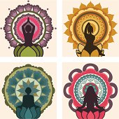 A collection of yoga figures with colourful mandalas. (Includes .jpg)