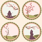 A collection of delicate spring blossom scenes - two featuring women practicing yoga in nature. (Includes .jpg)