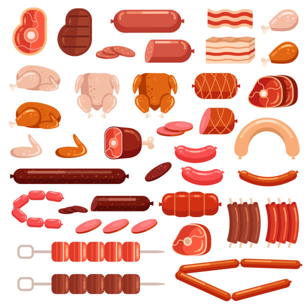 illustrations, cliparts, dessins animés et icônes de vache et poulet frais ou cuits porc boeuf viande coupée en tranches saucisson supermarché assortiment produit éléments collection isolé icône. gastronomie alimentation bacon steak jambe concept - aliments crus