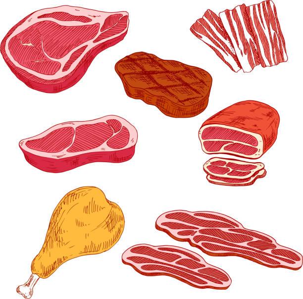 frisch zubereitete fleisch-produkte für barbecue-design - roastbeef stock-grafiken, -clipart, -cartoons und -symbole
