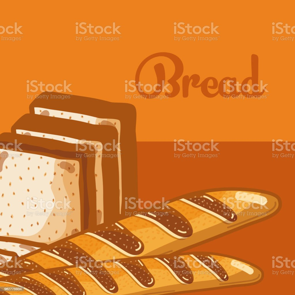 Fresh and delicious breads vector art illustration