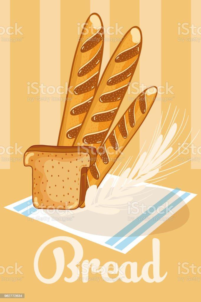 Frescos e deliciosos pães de trigo - Vetor de Alimentação Saudável royalty-free