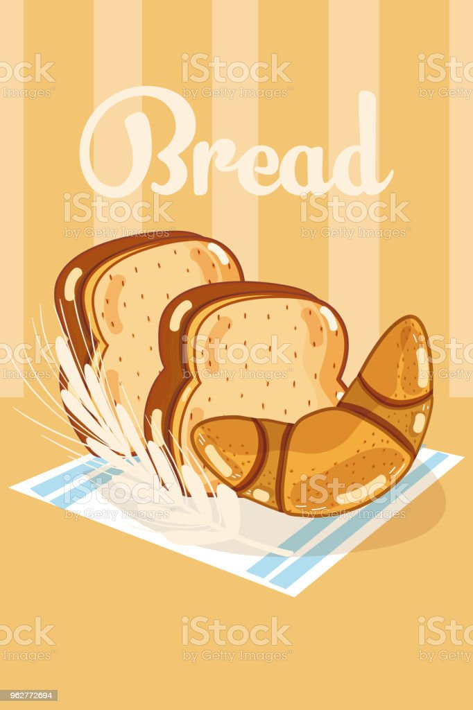 Fresh and delicious wheat breads vector art illustration