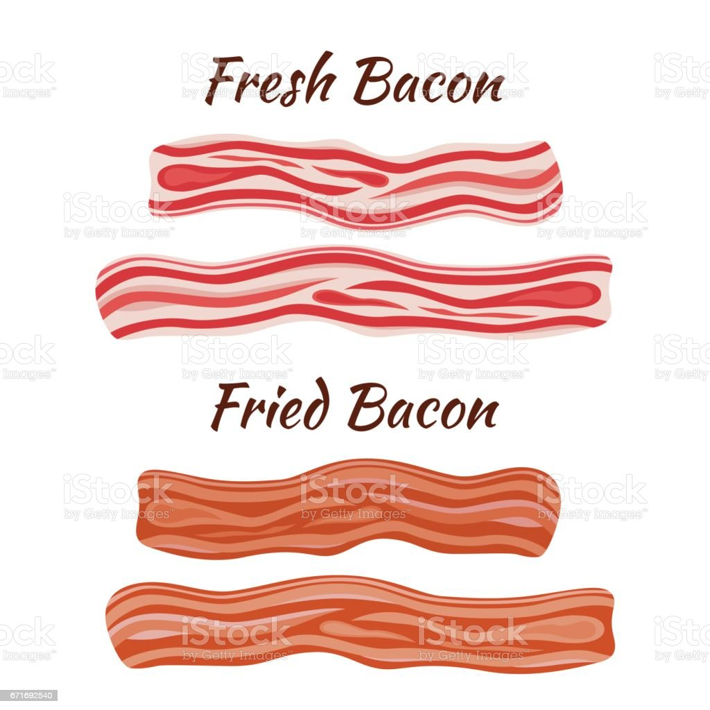 Fresh and fried bacon. Cartoon flat style. Healthy tasty breakfast. vector art illustration
