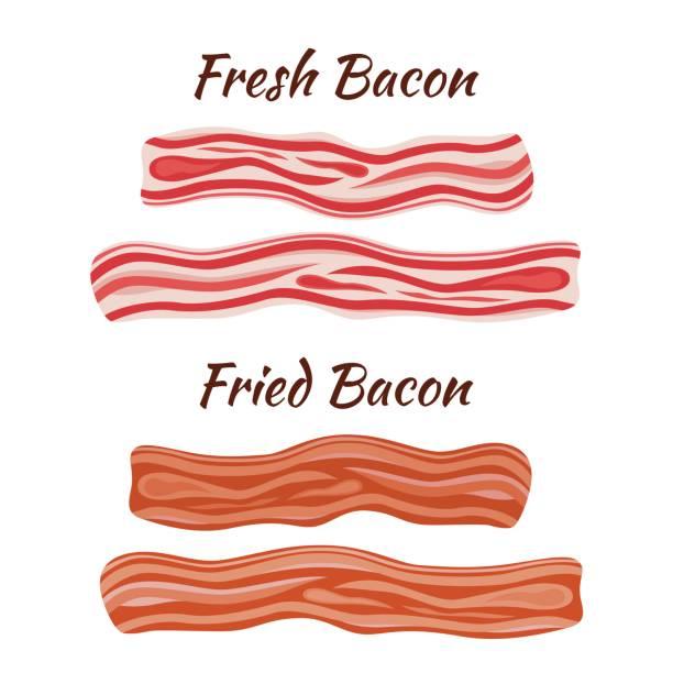 신선 하 고 튀긴 베이컨입니다. 평면 스타일 만화. 건강 한 맛 있는 아침 식사. - 베이컨 stock illustrations