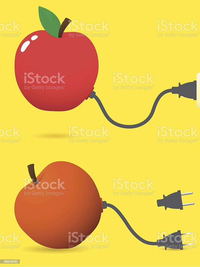 Fresh and old apple with connector plug royalty-free fresh and old apple with connector plug stock vector art & more images of apple - fruit