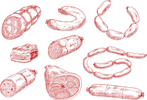 fresh and tasty meat products red sketch icons - delis stock illustrations