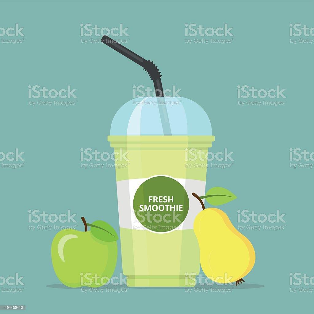 Frischer Apfel und Birne-Smoothie Cup – Vektorgrafik