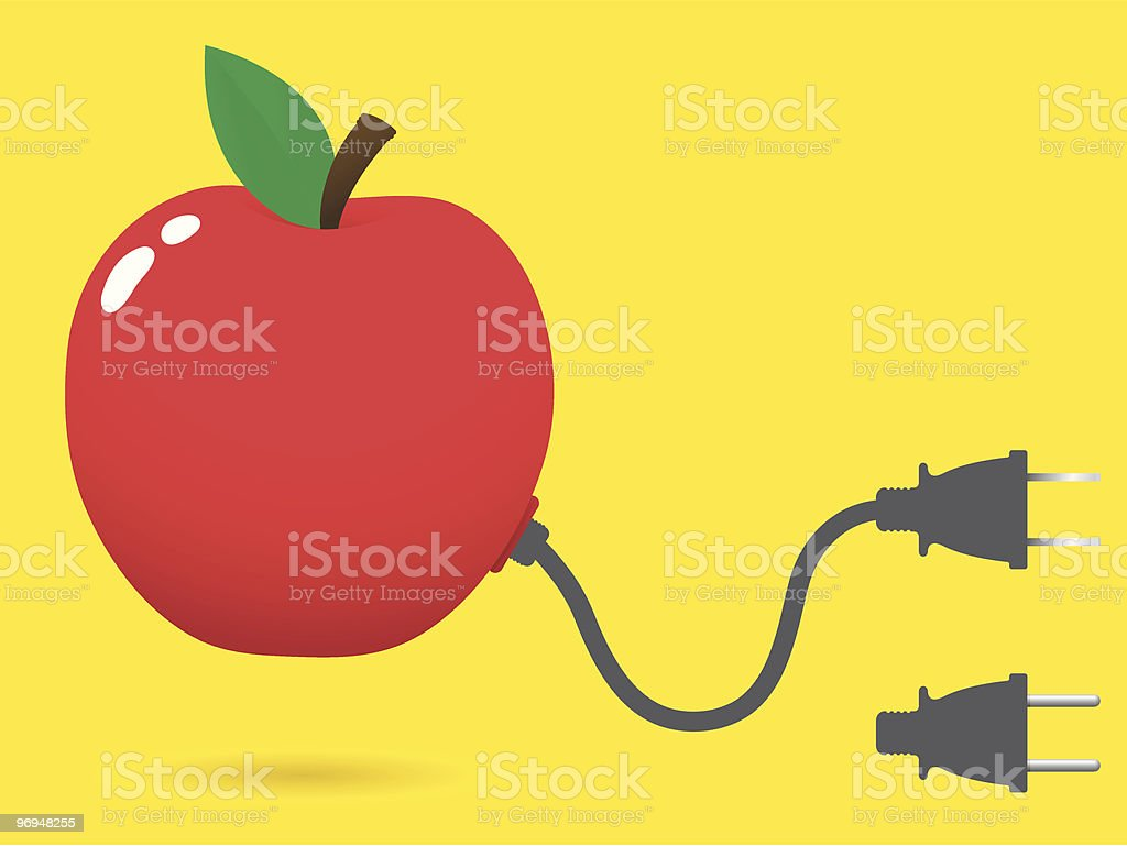Fresh apple with connector plug royalty-free fresh apple with connector plug stock vector art & more images of apple - fruit