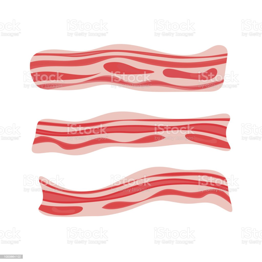 Fresh bacon stripe. Pork meat. Healthy tasty breakfast. Vector illustration set in flat style. vector art illustration