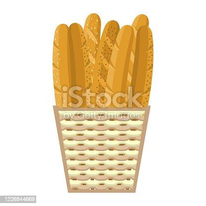 istock Fresh baguettes in basket, colorful vector illustration 1226844669
