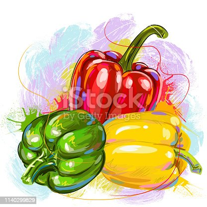 Drawing of Fresh Bell Peppers. Elements are grouped.contains eps10 and high resolution jpeg.
