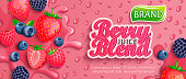 Fresh berry blend juice splash banner with apteitic drops from condensation.Strawberries,blueberries,raspberries and blackberries background for brand,template,label,emblem,packaging,advertising.
