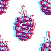 Fresh blackberry seamless pattern. Vector background with colorful fruits. Hand drawn engraving sketch. Anaglyph 3d stereo effect.