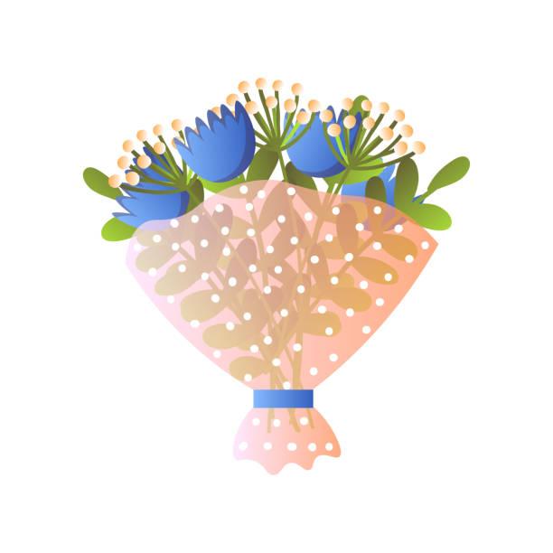 흰색에 고립 된 종이 포장에 신선한 파란색 꽃이 꽃 꽃다발 - 꽃밥 stock illustrations