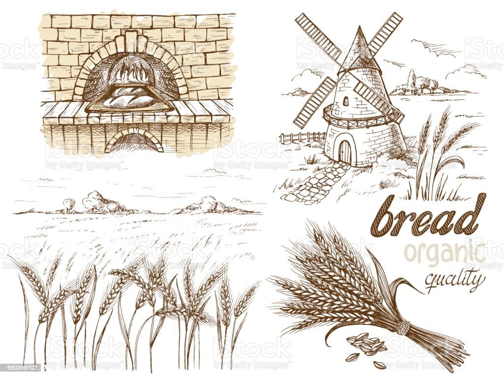 fresh bread and a oven windmill ears vector art illustration