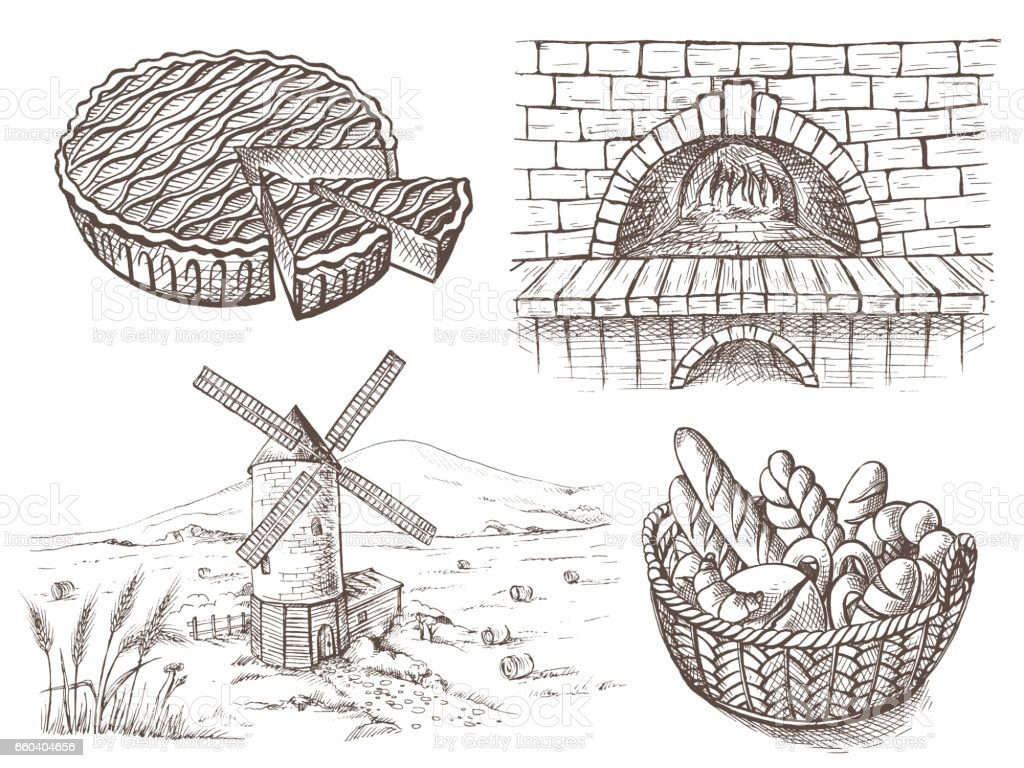 fresh bread and a oven windmill vector art illustration