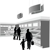 A vector silhouette illustration of customers at a bakery selecting their purchases.  A young couple make a purchase while a mother holds the hand of her toddler.