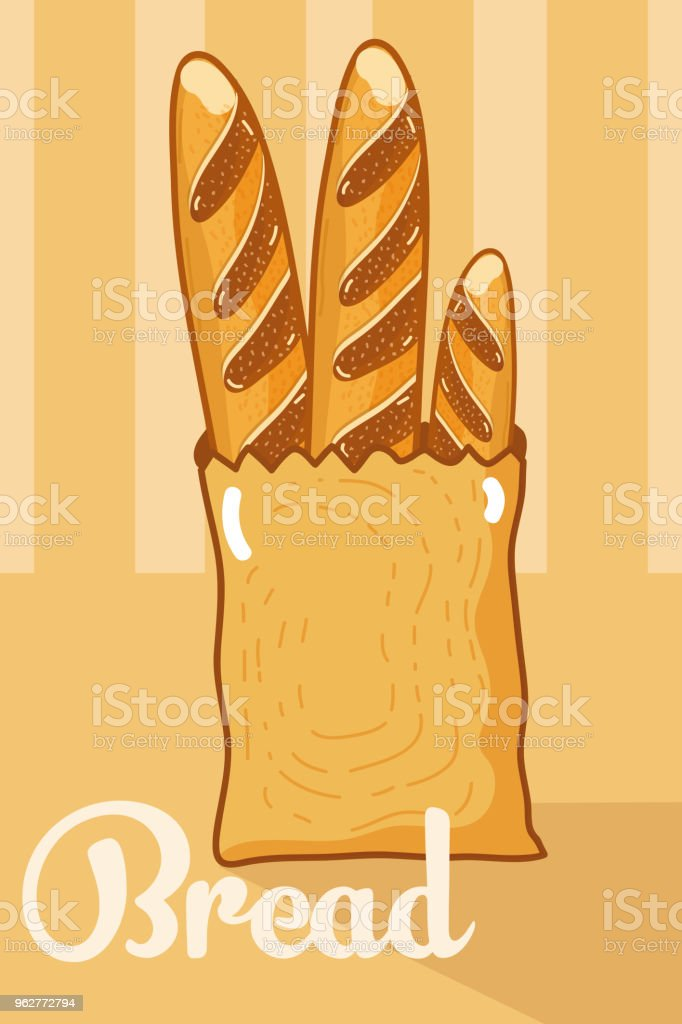 Fresh bread inside paper bag vector art illustration
