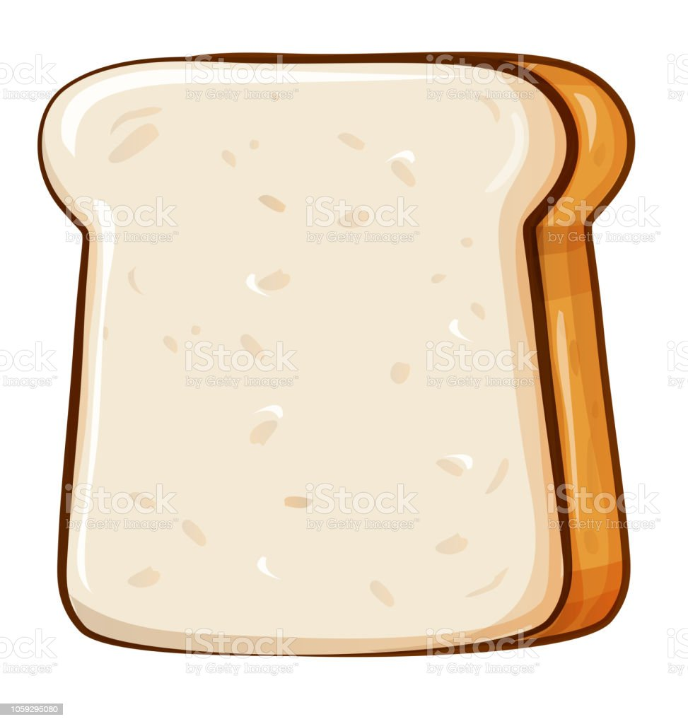Fresh bread, toast for breakfast. Made in cartoon style. vector art illustration