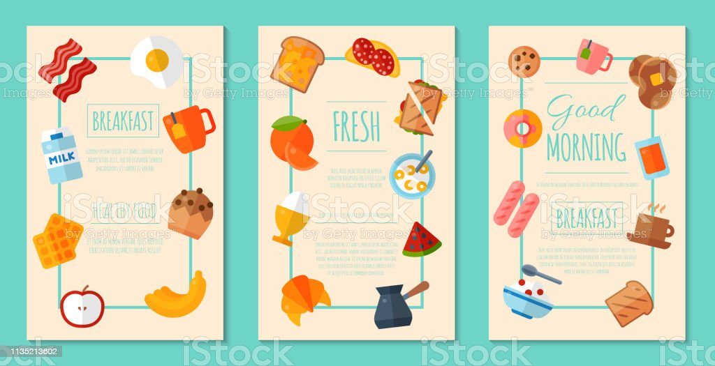 Fresh Breakfast Concept Set Of Posters Or Banners Vector