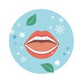 Fresh and clean mouth and teeth, fresh breath vector.