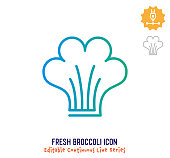 Fresh broccoli vector icon illustration for logo, emblem or symbol use. Part of continuous one line minimalistic drawing series. Design elements with editable gradient stroke line.