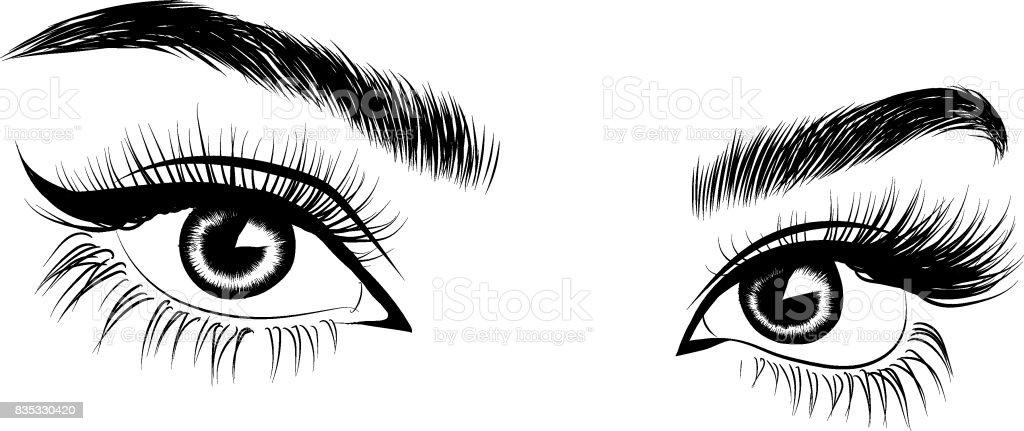 Fresh brown woman's eye vector art illustration