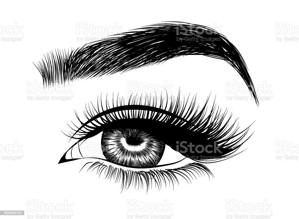 Fresh brown woman's eyes.Idea for cards. vector art illustration