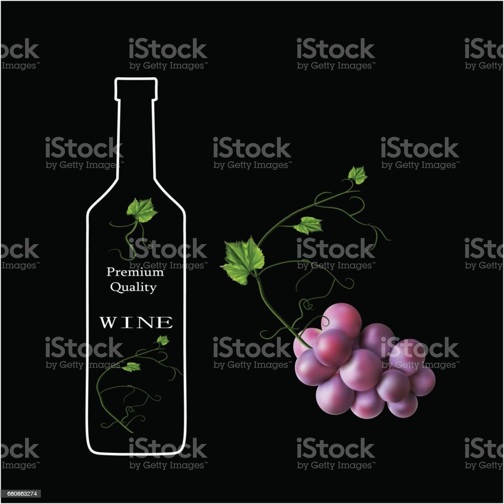 Fresh bunch of grapes. Manufacturer of fresh juices and wine. Logo vector art illustration