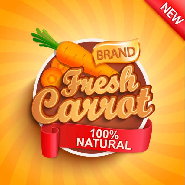 illustrazioni stock, clip art, cartoni animati e icone di tendenza di fresh carrot label or sticker. - healthy green juice