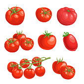 Fresh cartoon tomatoes. Whole red vegetables in flat design. Single and group farm fresh tomatoes. Vector illustrations isolated on white background.