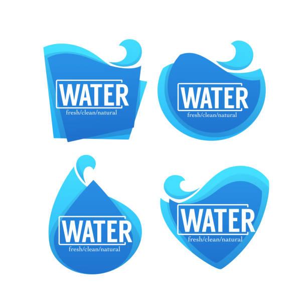 물 스티커, 라벨, 배너의 신선한, 깨끗 한, 자연, 벡터 컬렉션 - water stock illustrations
