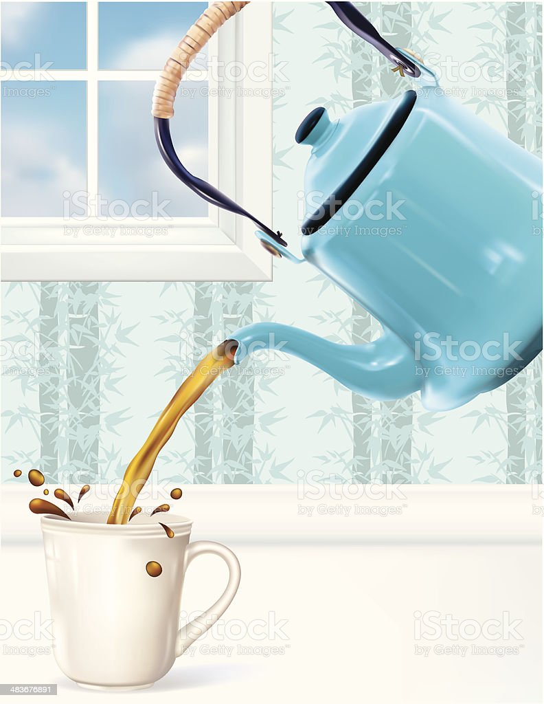 Fresh Coffee Being Poured vector art illustration