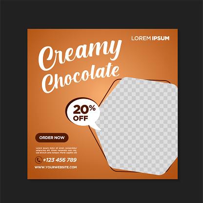 Fresh coffee chocolate drink social media banner post template