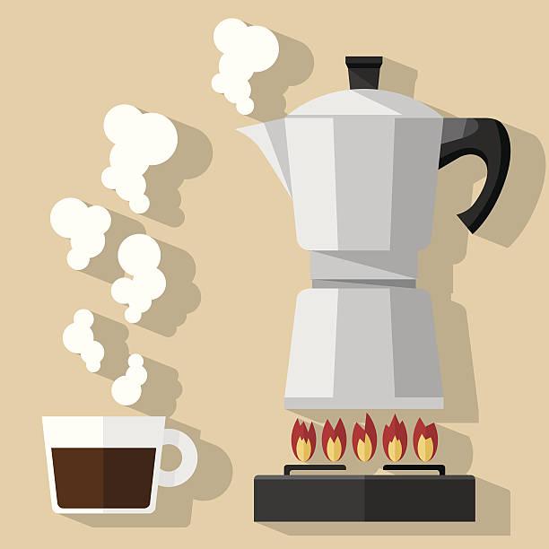 Fresh Coffee Flat illustration coffee pot and espresso. coffee pot stock illustrations