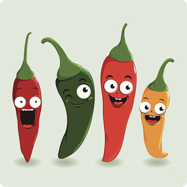 Fresh colorful hot chili pepper characters Four delicious and hot chili pepper characters in various colors.  Red, green and yellow chili peppers.  mexican restaurant stock illustrations