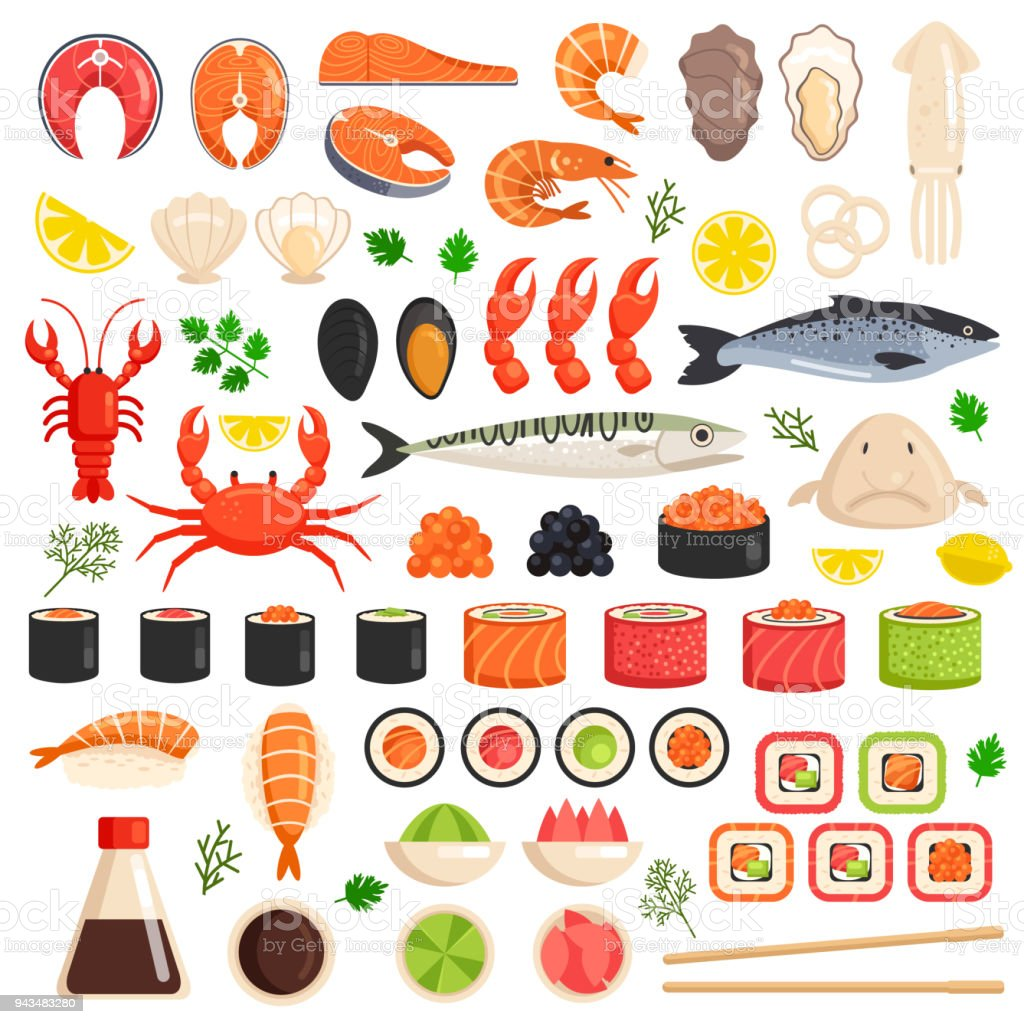 Fresh cooked sea fish lobster crab drop fish squid mollusks mussels slices tuna salmon sushi roll oyster food ocean marine flat isolated icon set collection. Market meal ingredient culinary concept. Vector flat graphic design sign