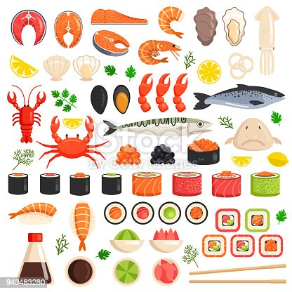 Fresh cooked sea fish lobster crab squid mollusks mussels slices tuna salmon sushi oyster food ocean marine flat isolated icon set collection. Market meal ingredient culinary concept