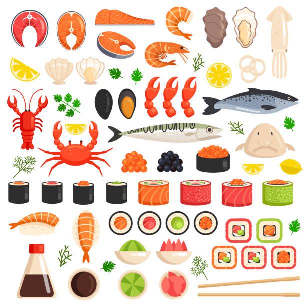 frisch gekocht meer fisch hummer krabbe drop fisch tintenfisch mollusken muscheln scheiben thunfisch lachs sushi roll auster essen ocean marine flache isoliert set ikonensammlung. essen zutaten kulinarische marktkonzept. vektor-flach grafikdesign zeichen - lachs meeresfrüchte stock-grafiken, -clipart, -cartoons und -symbole