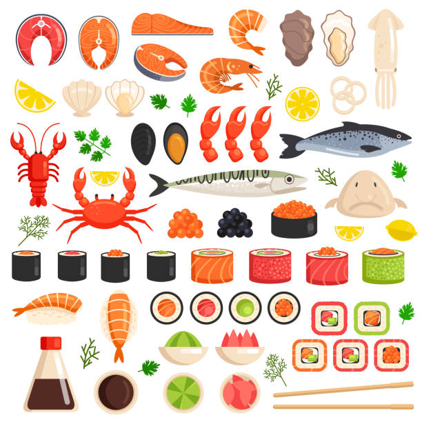 Fresh cooked sea fish lobster crab drop fish squid mollusks mussels slices tuna salmon sushi roll oyster food ocean marine flat isolated icon set collection. Market meal ingredient culinary concept. Vector flat graphic design sign Fresh cooked sea fish lobster crab squid mollusks mussels slices tuna salmon sushi oyster food ocean marine flat isolated icon set collection. Market meal ingredient culinary concept seafood stock illustrations