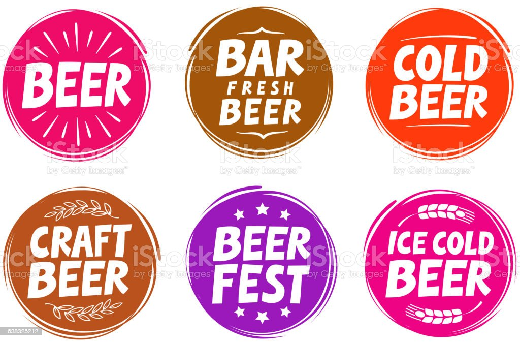 Fresh craft beer, brewery symbol. Vector elements for design menu vector art illustration