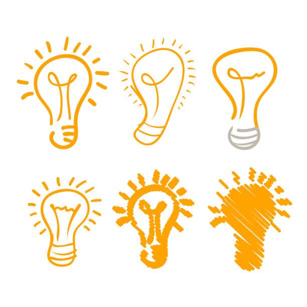 Frische kreative Idee Lampe Set handgezeichnete Sammlung. Vektor flache Grafik-Design-Illustration – Vektorgrafik