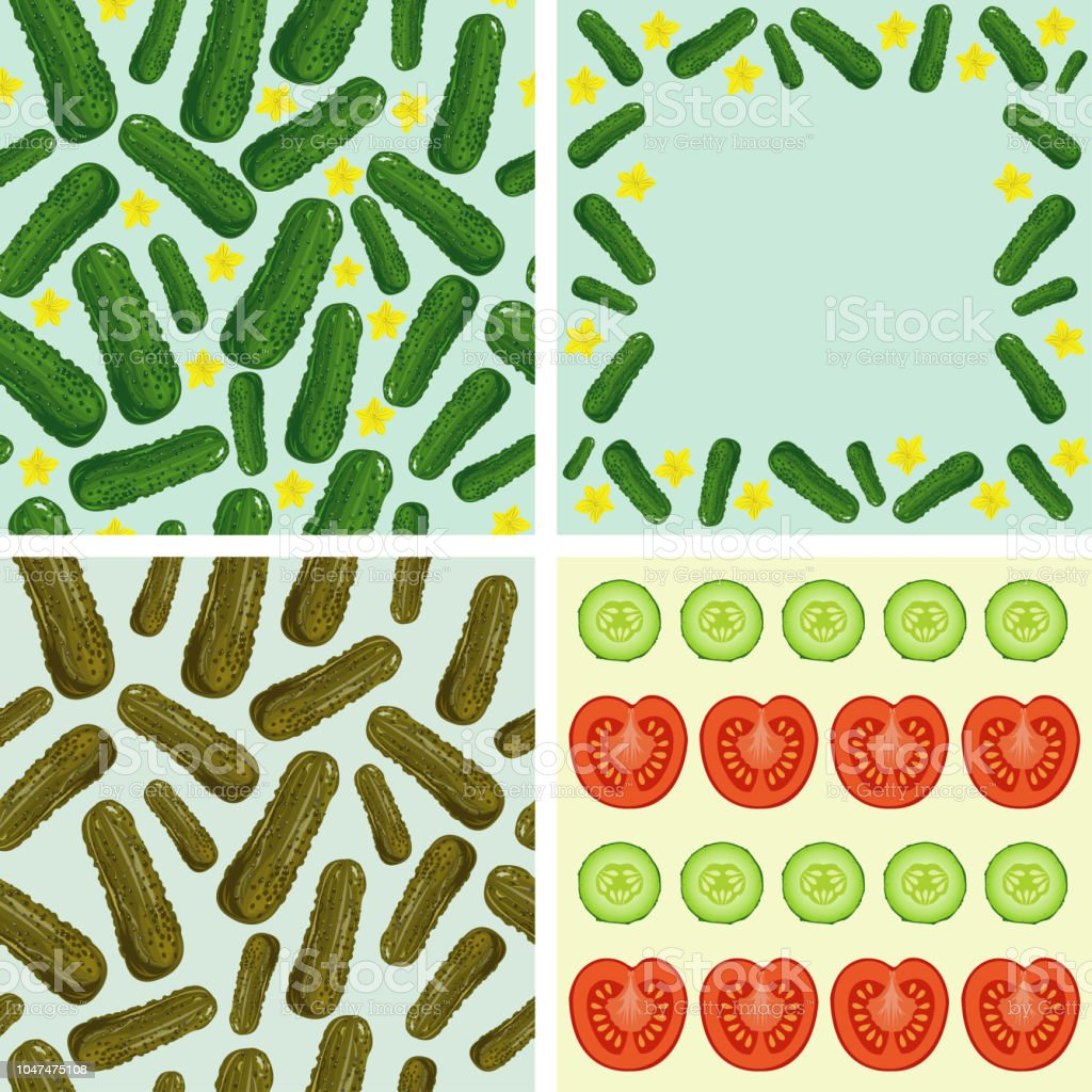 fresh cucumbers and tomatoes vector art illustration