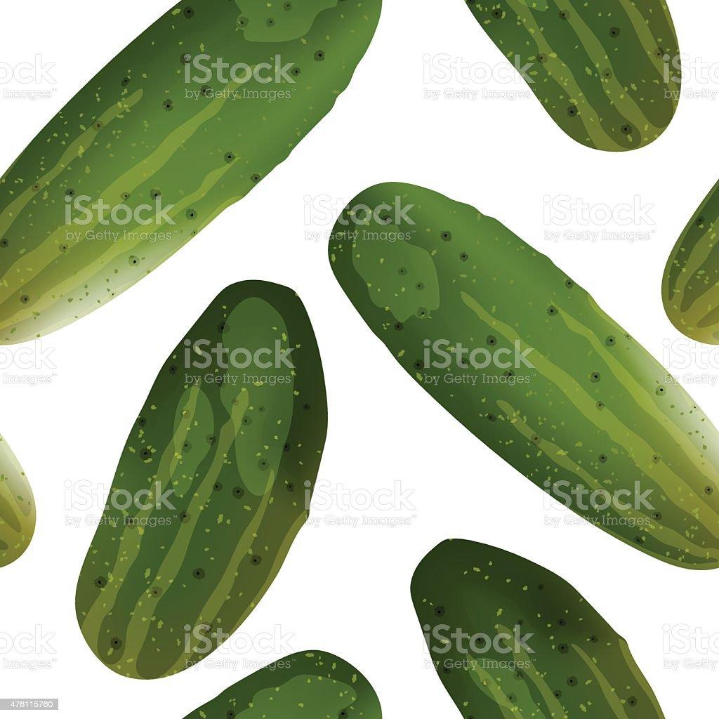 Fresh cucumbers seamless pattern vector art illustration