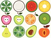 Fresh, Cute Vegetable, fruit cut in half (vector Icons) Set#3