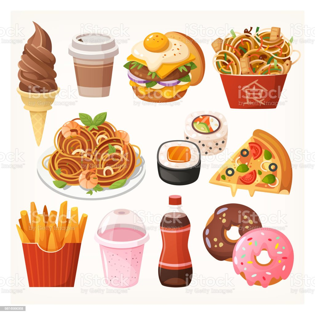 Fresh delicious fast food takeaway dishes, snacks and desserts vector art illustration